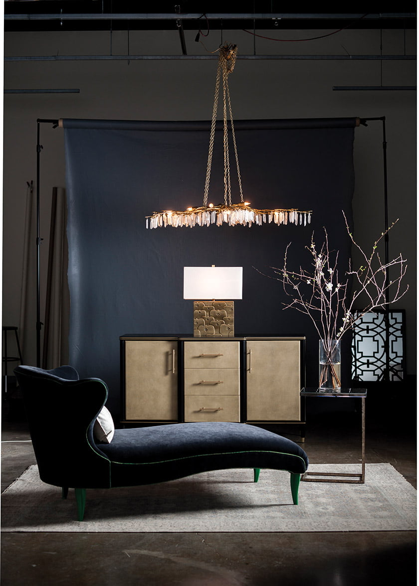 The Forest Light Gold Chandelier by Currey & Company.