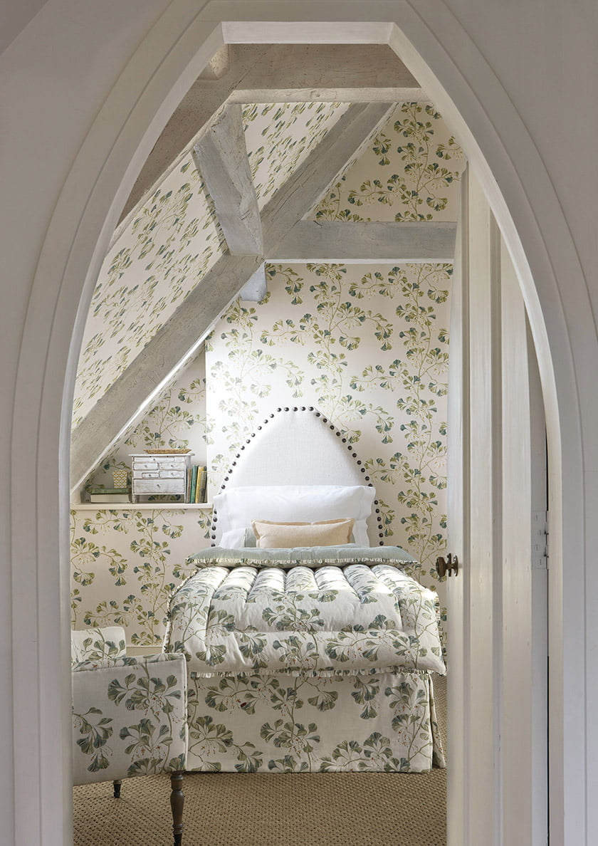Colefax and Fowler's Greenacre fabric and wallpaper.