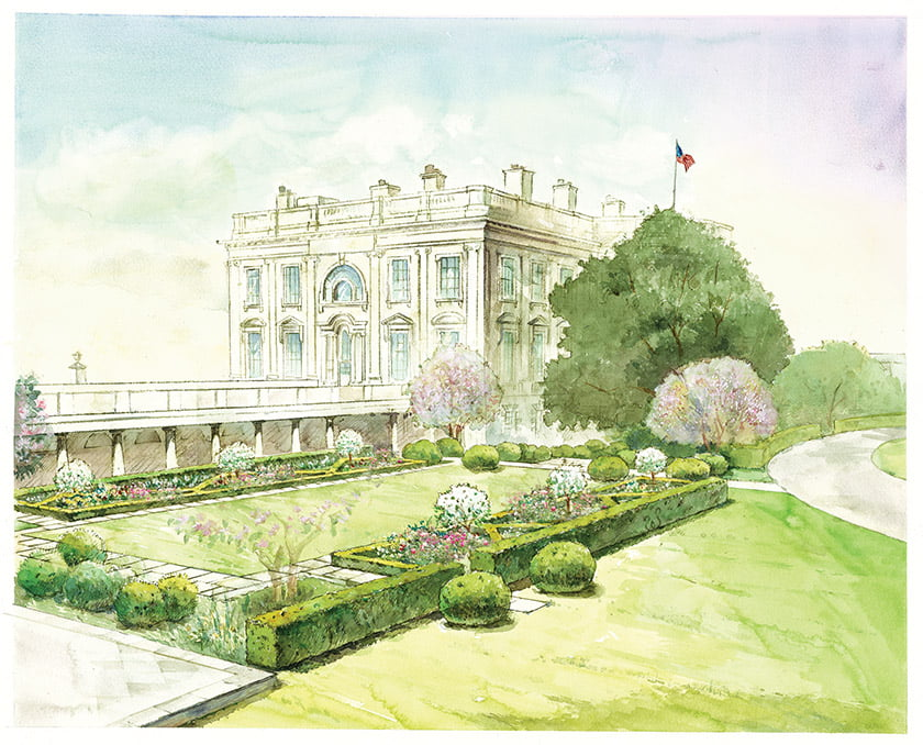 An Oehme, van Sweden watercolor depicts the master plan for the Rose Garden overhaul.