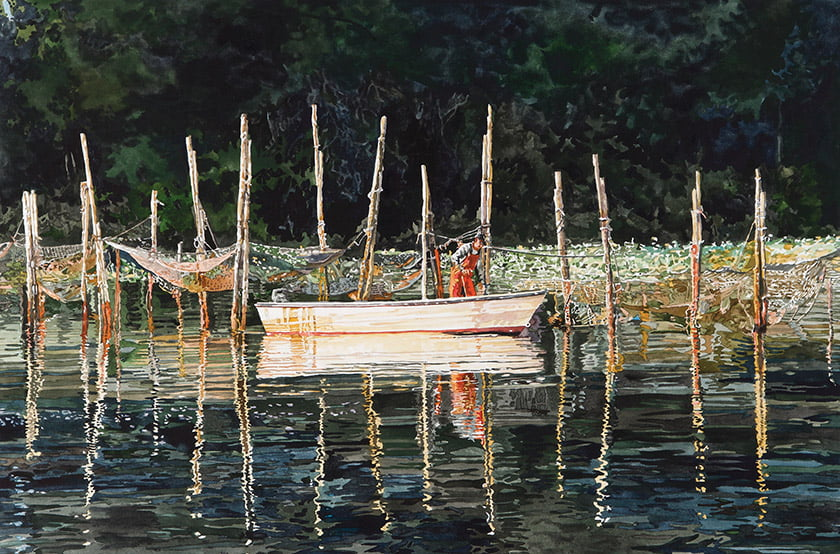 The Pens at Turners depicts catfish pens at Turners Creek, where fishermen trap their catch below the surfac