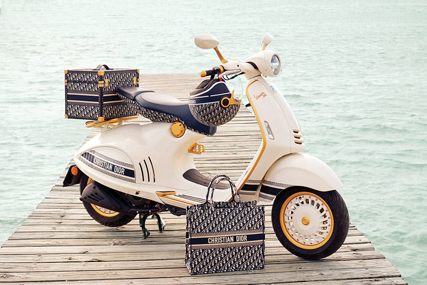 The Vespa 946 Christian Dior scooter.