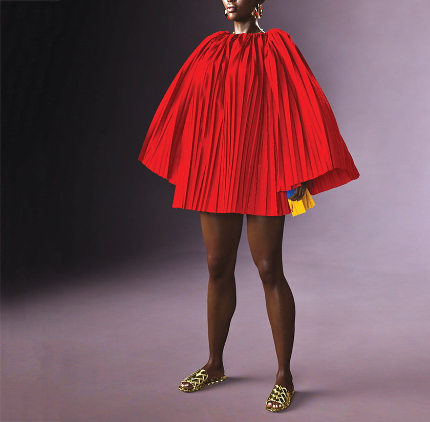 The Kinshasa Backless Mini Dress, shown on a 3-D avatar.