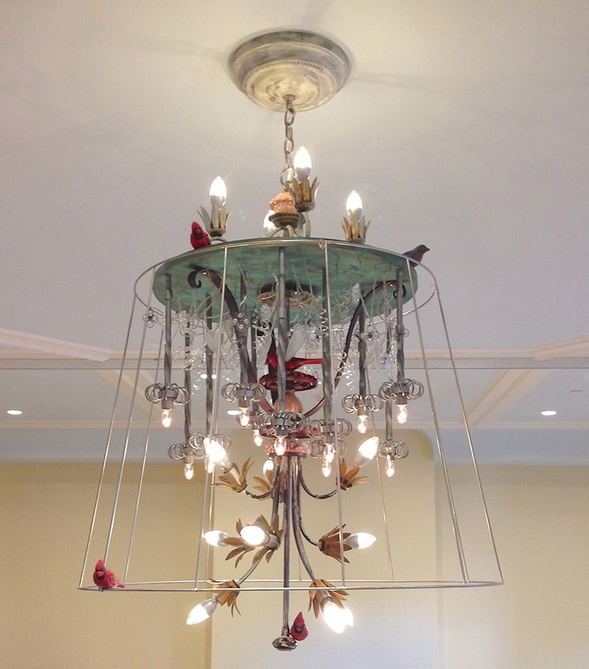 A sprightly chandelier was designed for The Valentine museum shop.