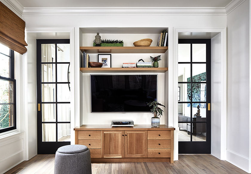 Benton designed a built-in media area in the family room.