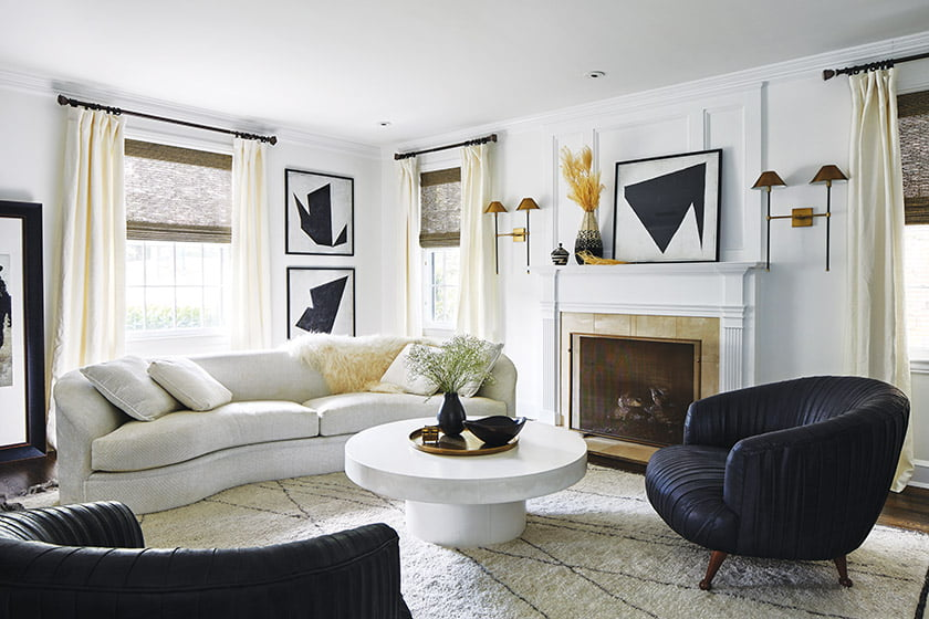 A restrained-modern vibe prevails in the living room