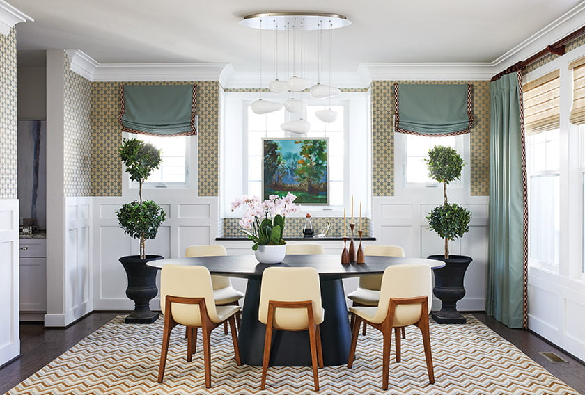 In the dining room, Modloft chairs surround a table from France & Son.