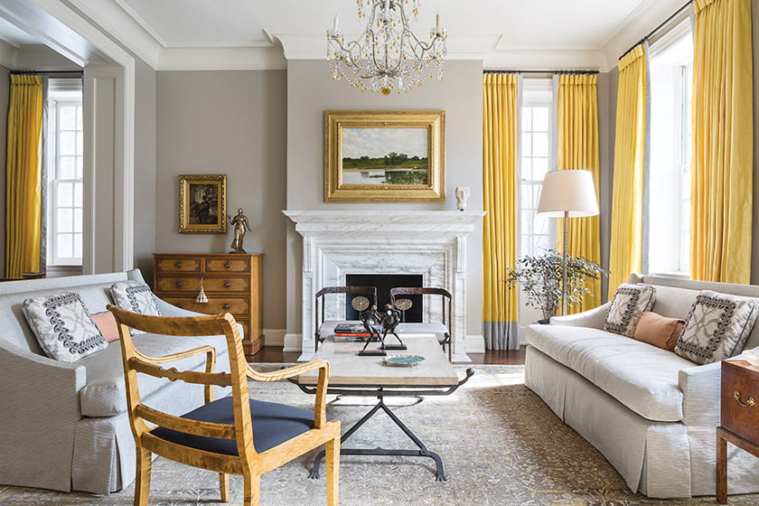 In the living space, Madeline Stuart sofas