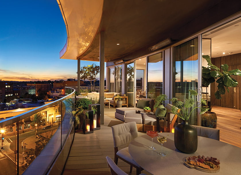 A garden terrace complete with fire pit.