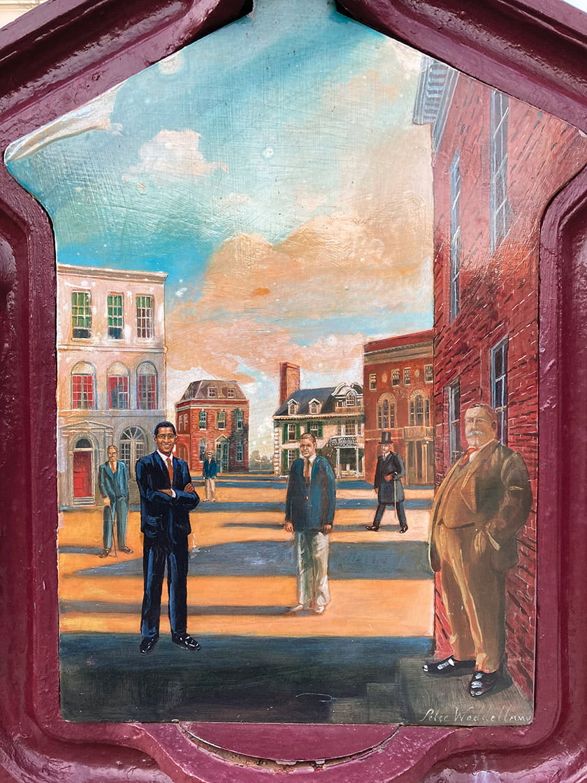 One of Waddell's call-box paintings in Washington assembles the U.S. presidents who have lived in Kalorama.