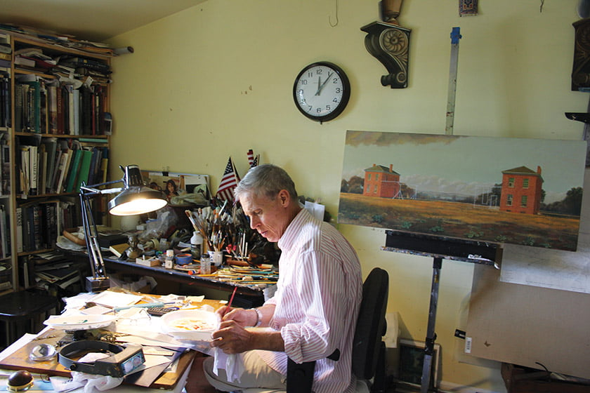 Waddell artist, shown in his studio at Tudor Place