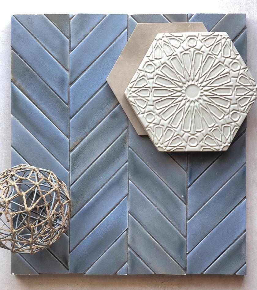 A mood board combines Heron matte glazed ceramic tile