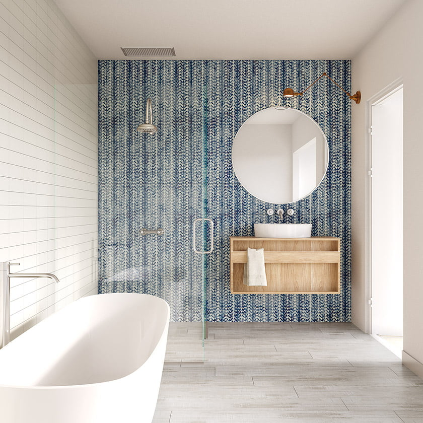 bathglass tile in indonesian-motif