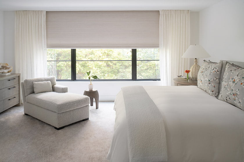 Chaise by O'Henry House, Conrad shades and Romo drapes by Jose Goncalves & Co