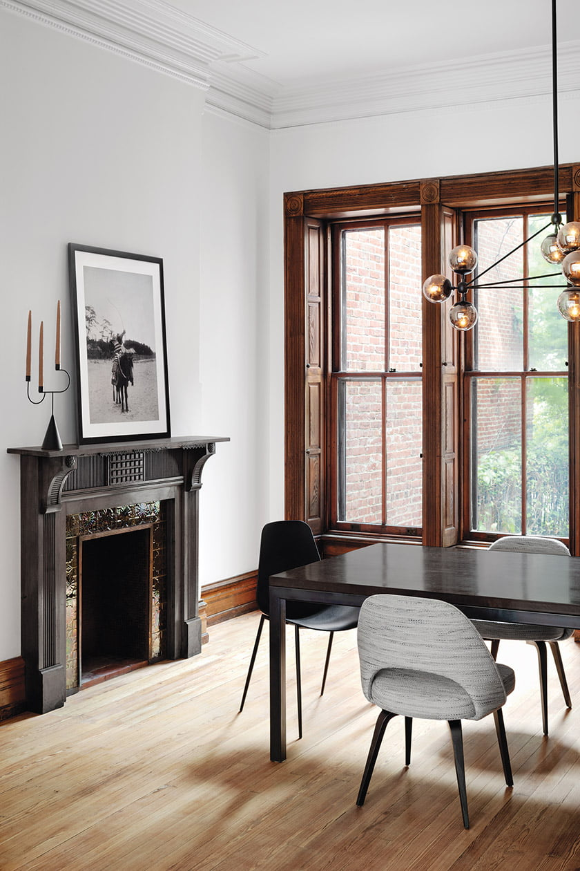 Dining room fireplace painted black.
