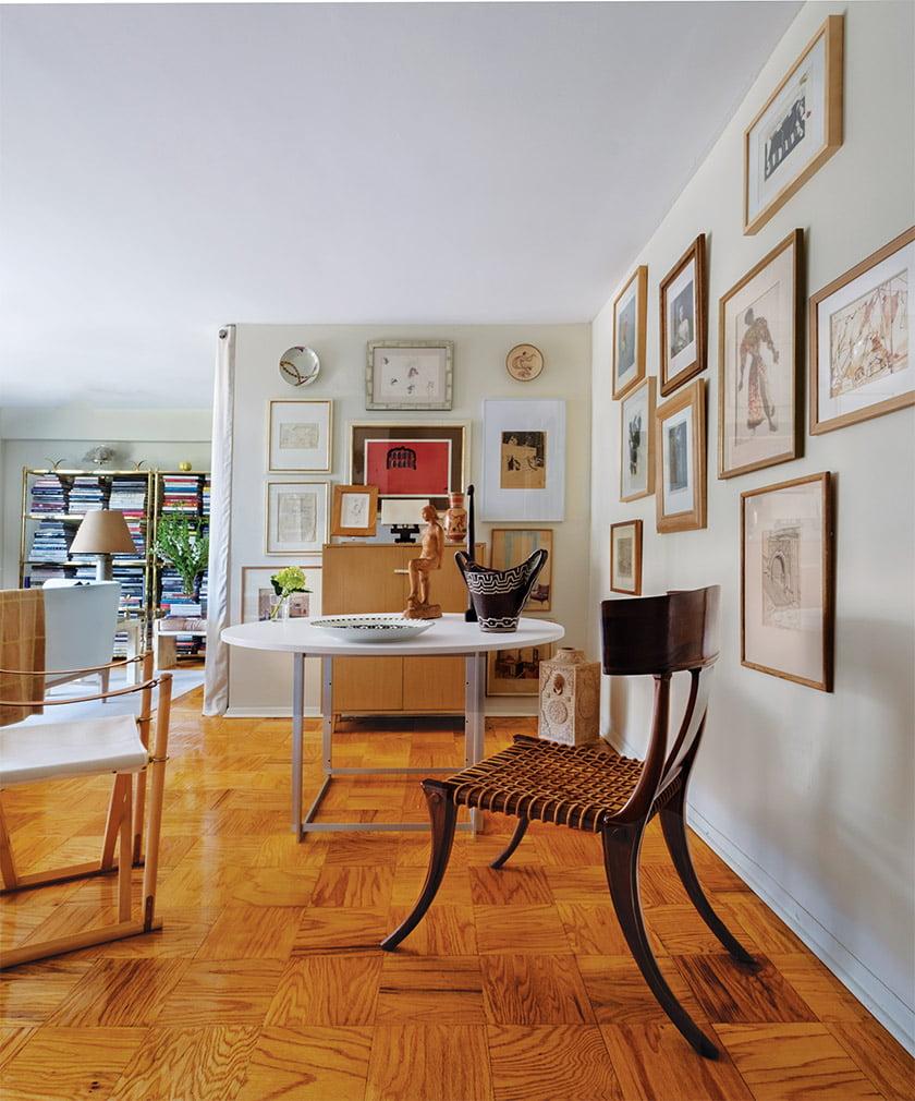 Santa-Cruz furnished dining area with a Poul Kjaerholm table, Mogens Koch folding chair and vintage Klismos chair