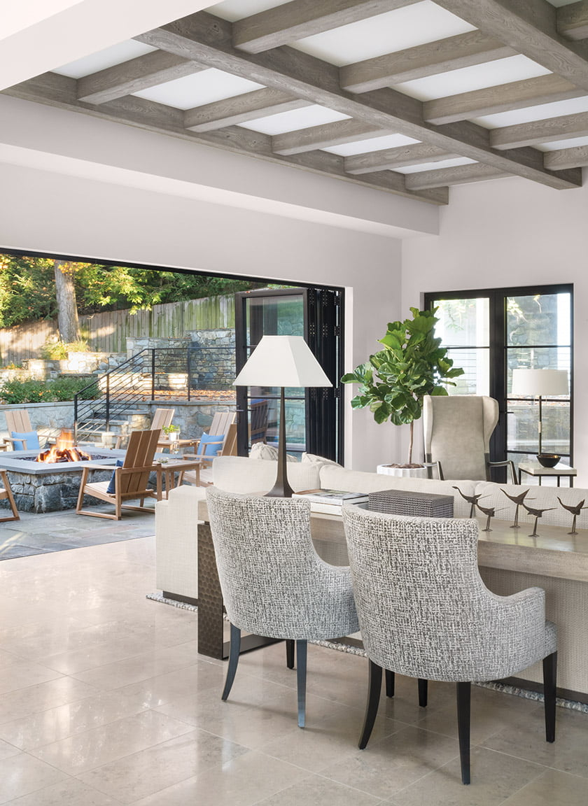 NanaWall opens to patio. Marcali chairs, Gregorius Pineo console with hammered-metal base