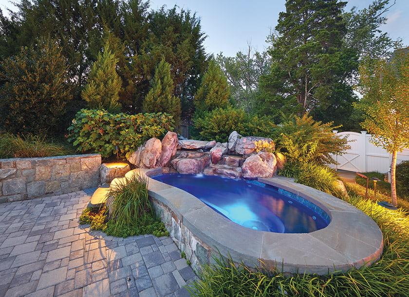 Hanover appian pavers around pool and spa