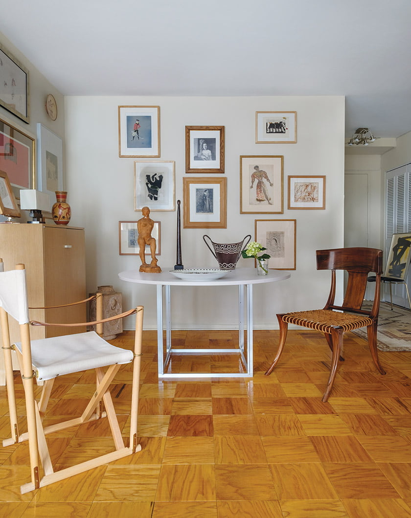 Artwork by Jean Michel-Frank, André Arbus and Eugene Berman enlivens the dining area walls