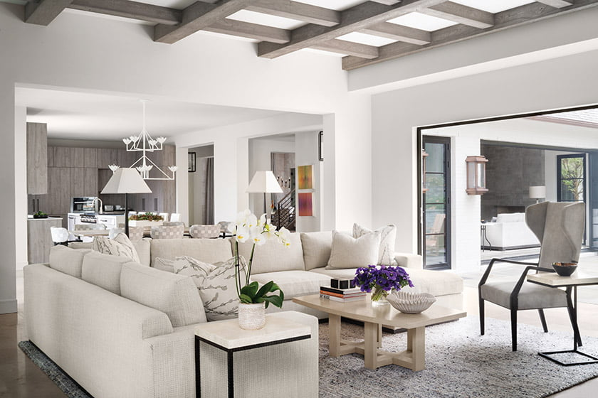 An open floor plan unites the family room addition with the kitchen