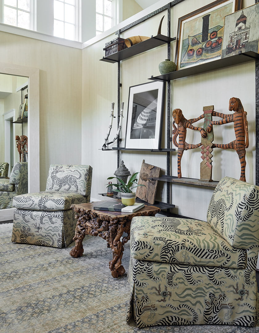 Ferrell Mittman slipper chairs covered in Clarence House fabric