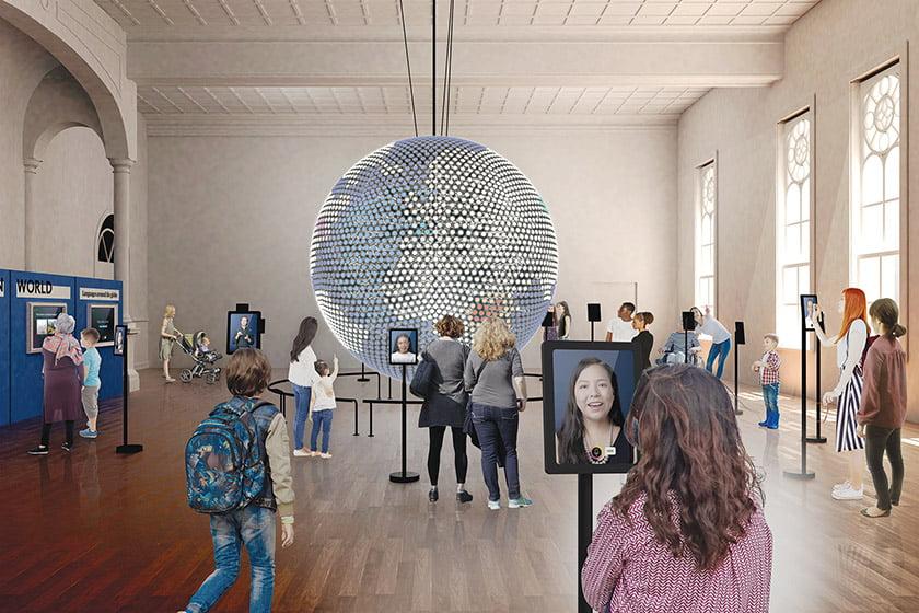 Spoken Word globe in gallery