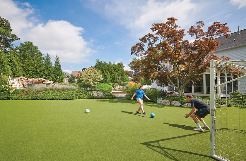 Backyard with synthetic turf