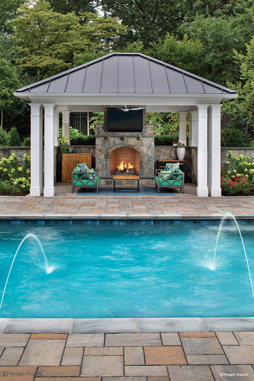 pool deck patio and pavilion