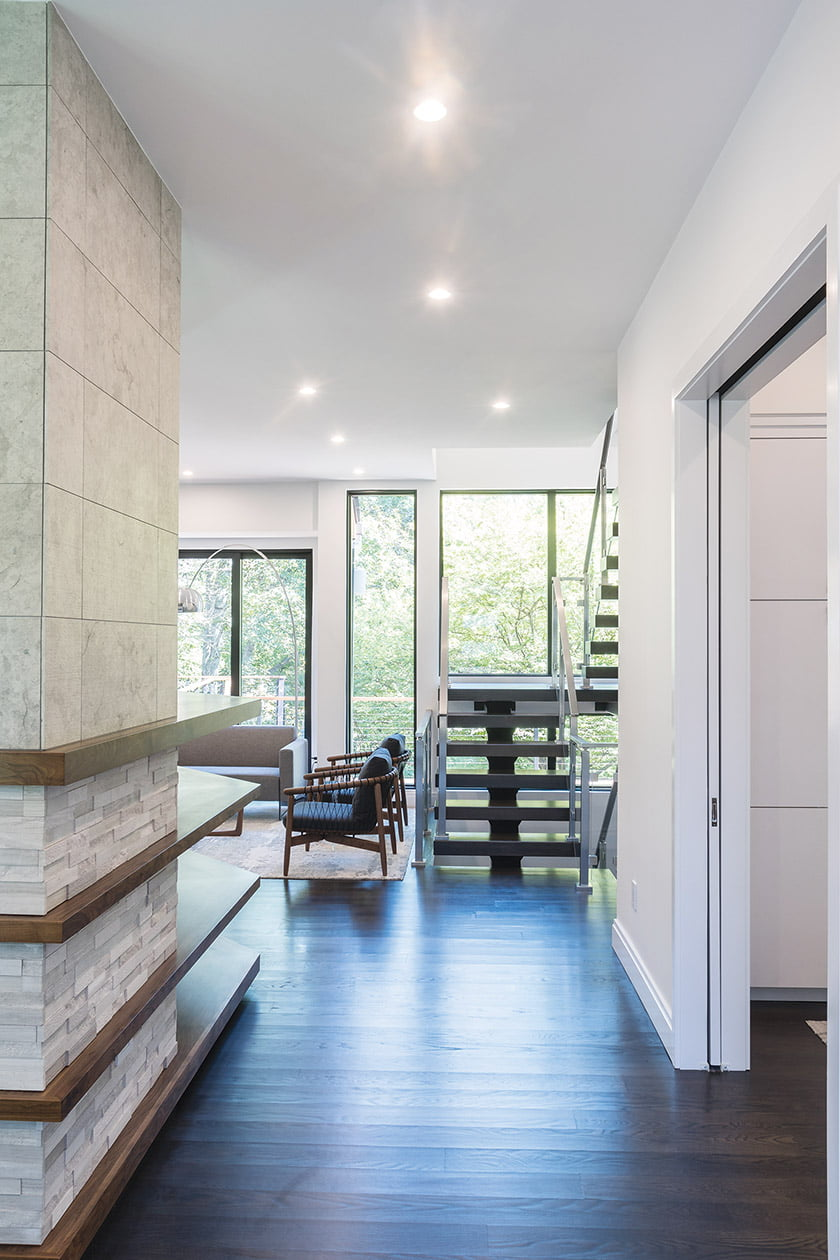 Steel-and-white-oak floating stair