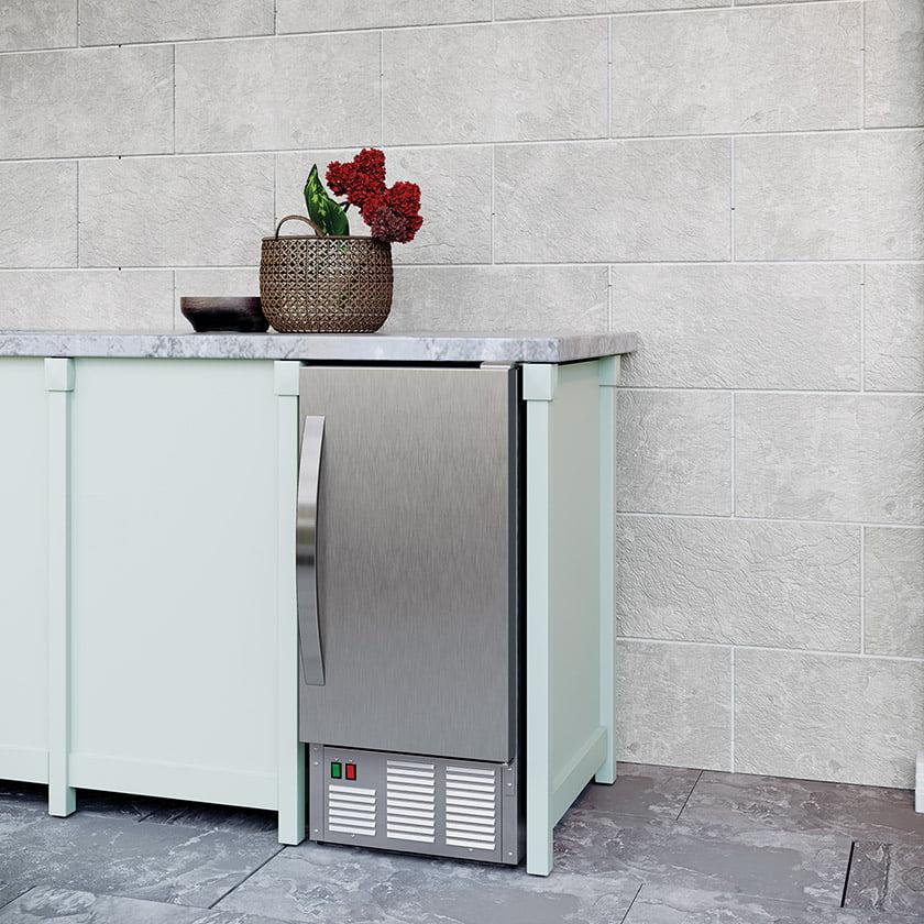 Edgestar's stainless-steel outdoor undercounter icemaker.