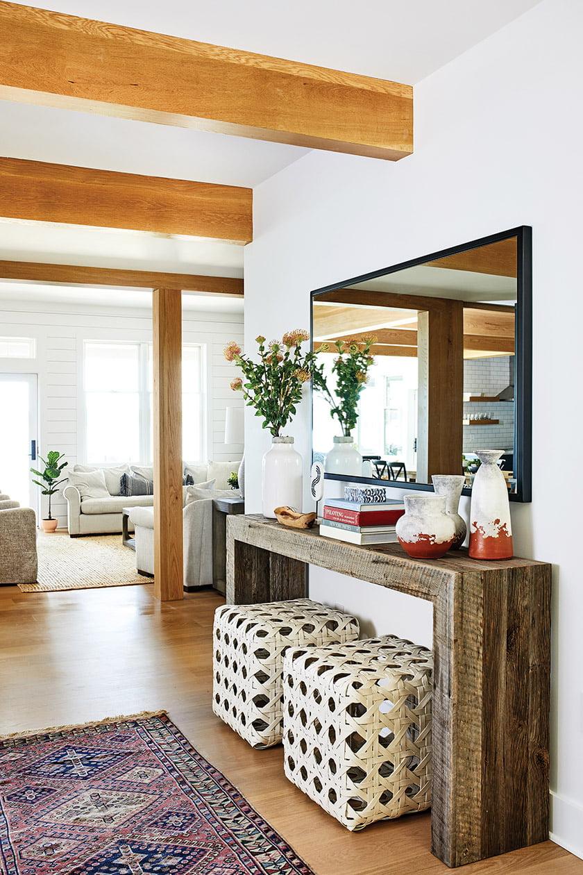 Foyer with white oak beams