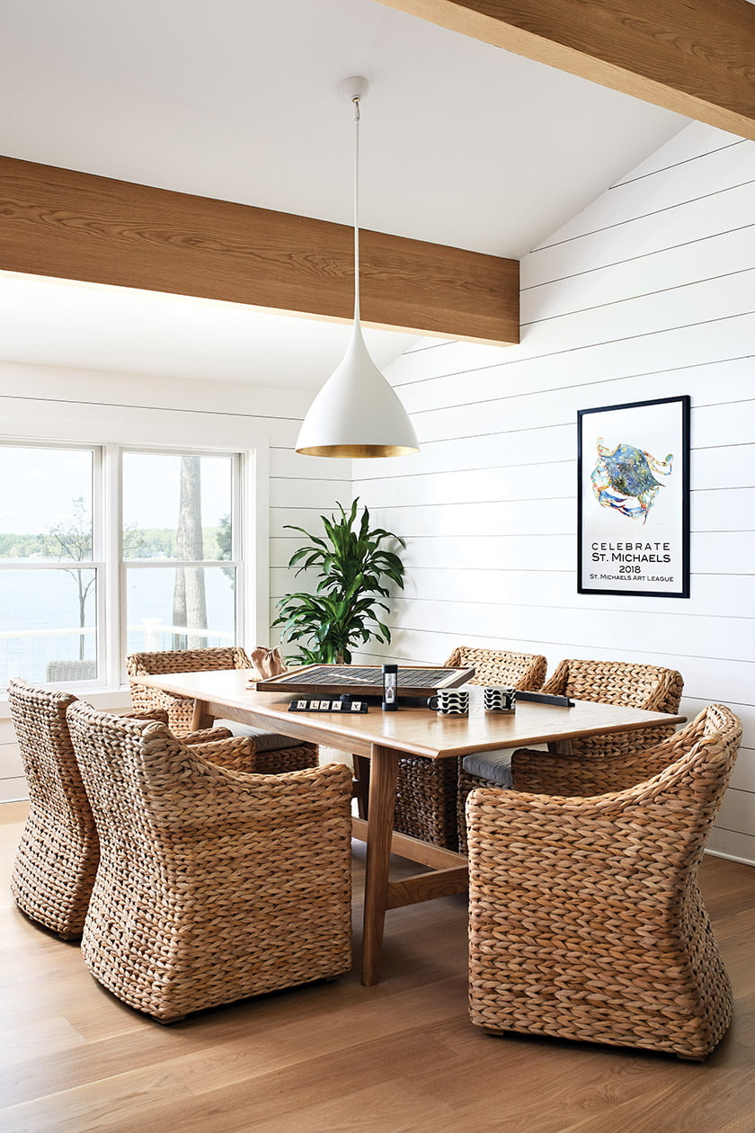Gat Creek table and woven RH chairs in game room