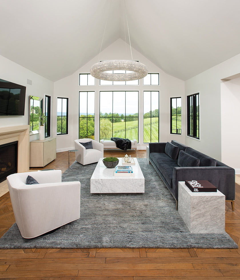 Great room with neutral palette and understated furniture