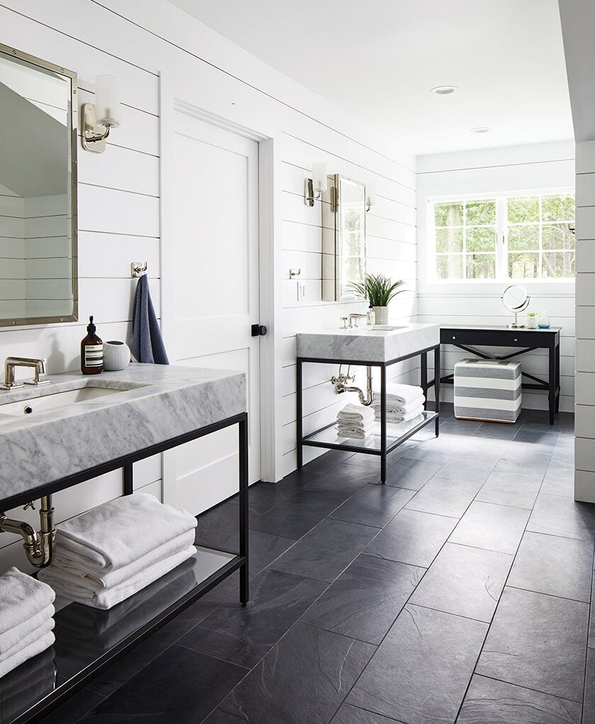 Iron RH washstands in owners bath