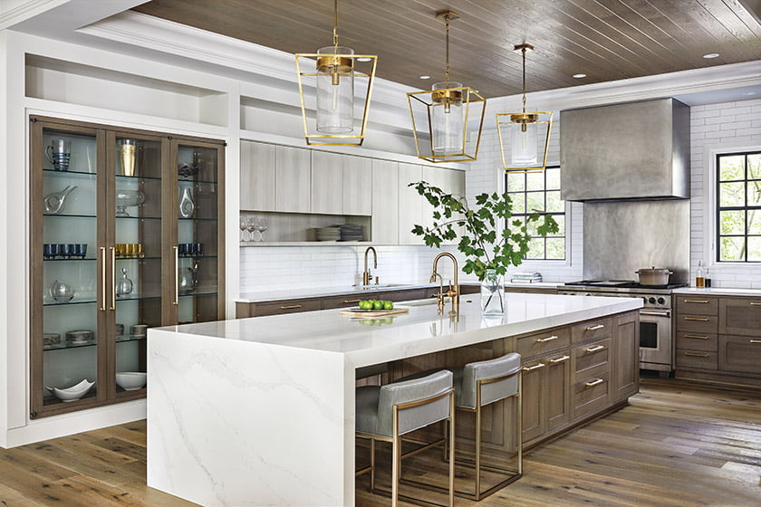Open kitchen with clean lines and transitional vibe