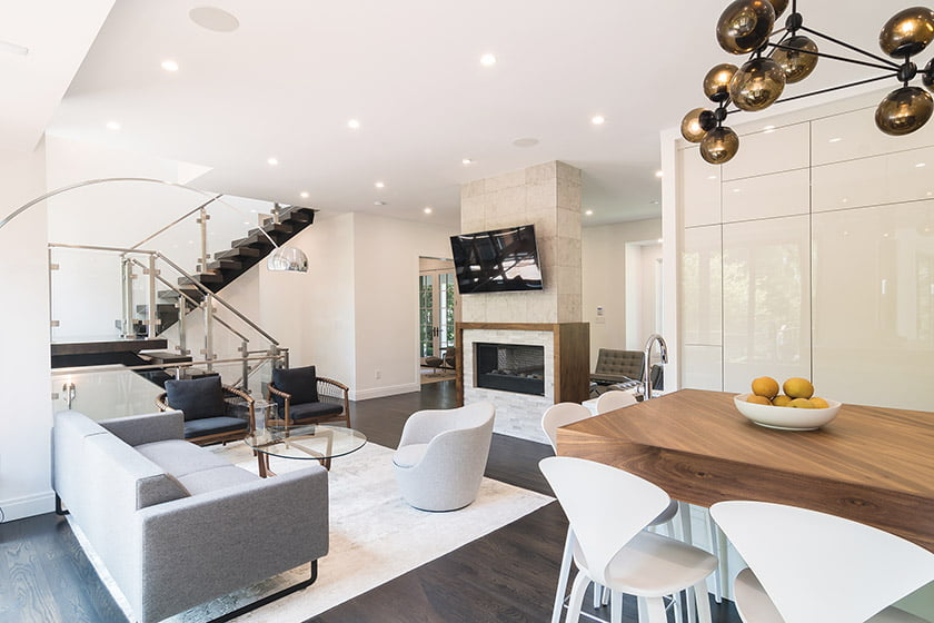 Modern open kitchen and family room