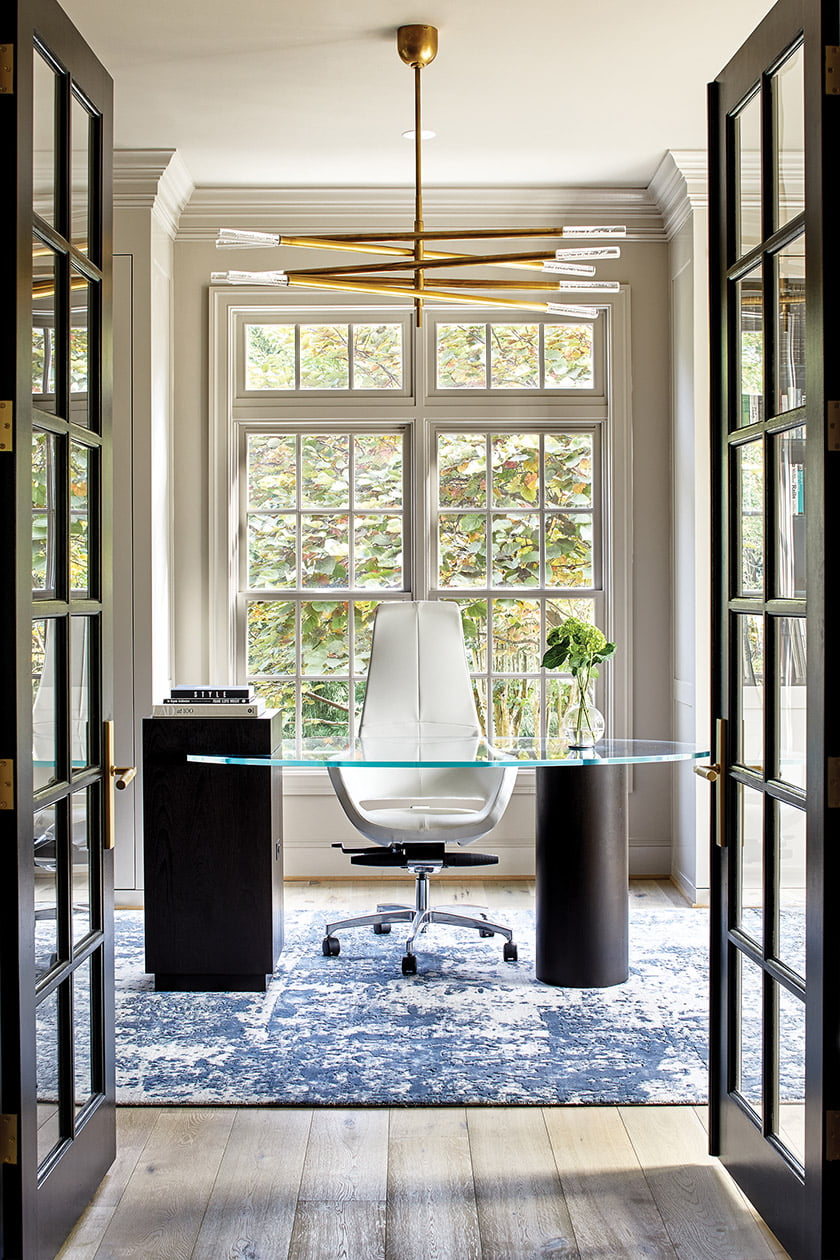 Home office with custom desk by Black Wolf Design