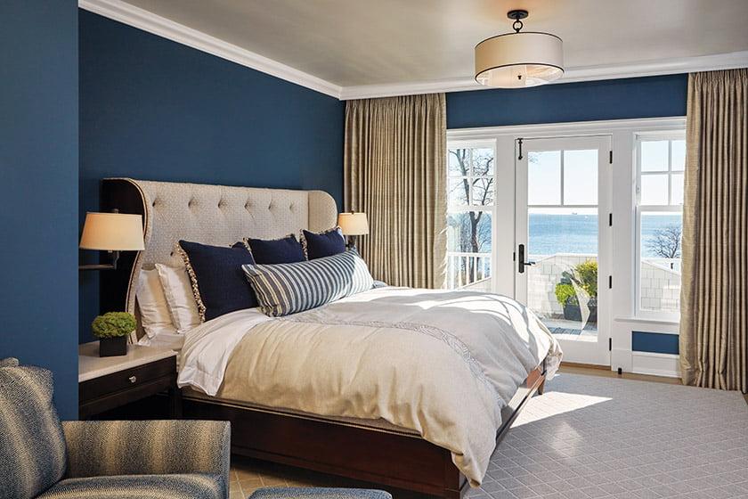 Bedroom with glass doors