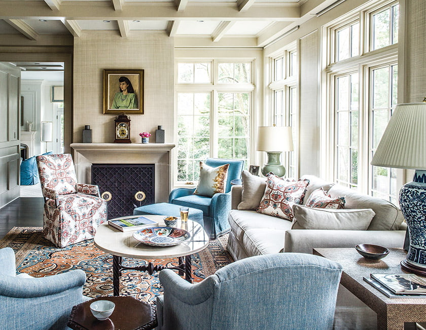 Family room with faux-linen finish on walls by artist Paul Robson