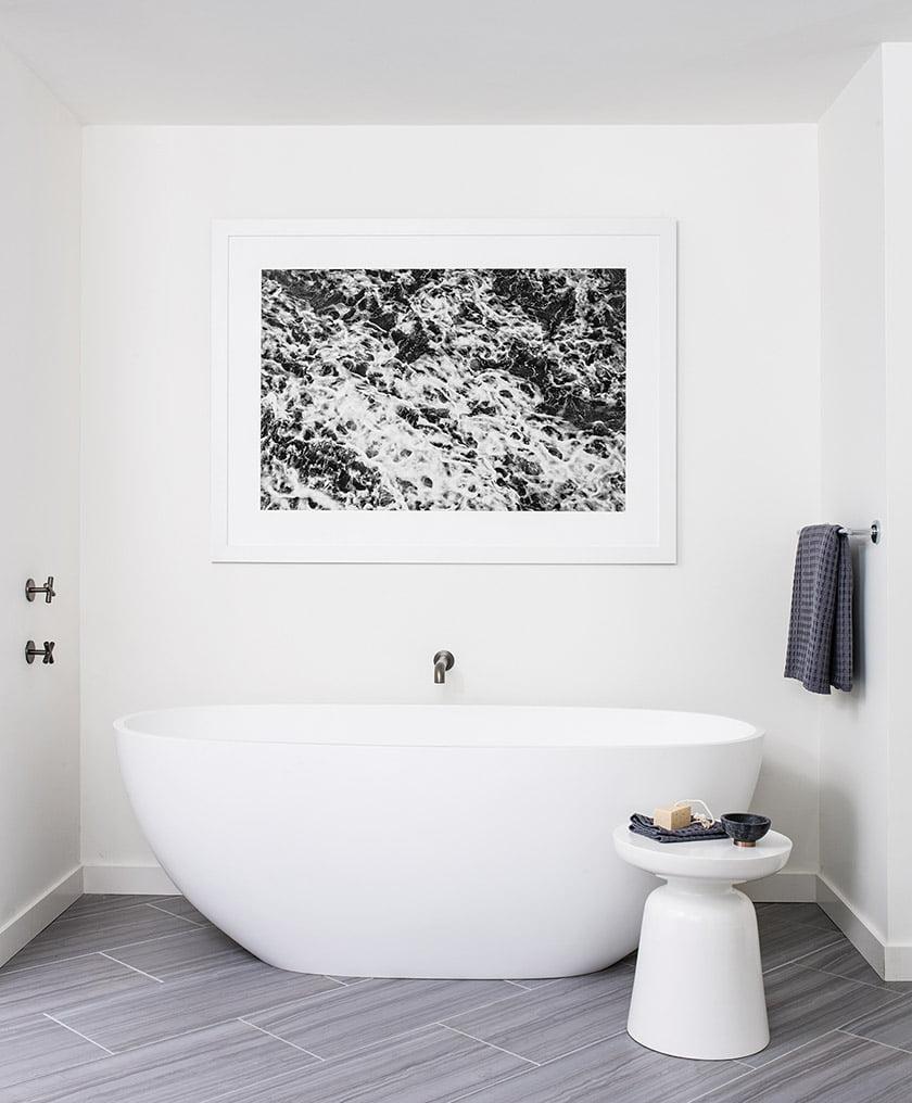 Sculptural tub in owners bathroom
