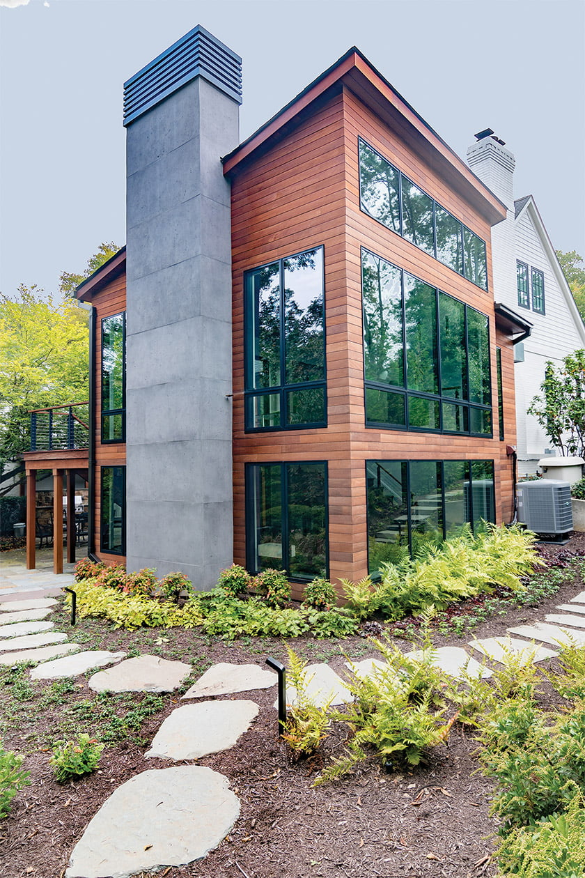 Modern front exterior with expansive Kolbe windows