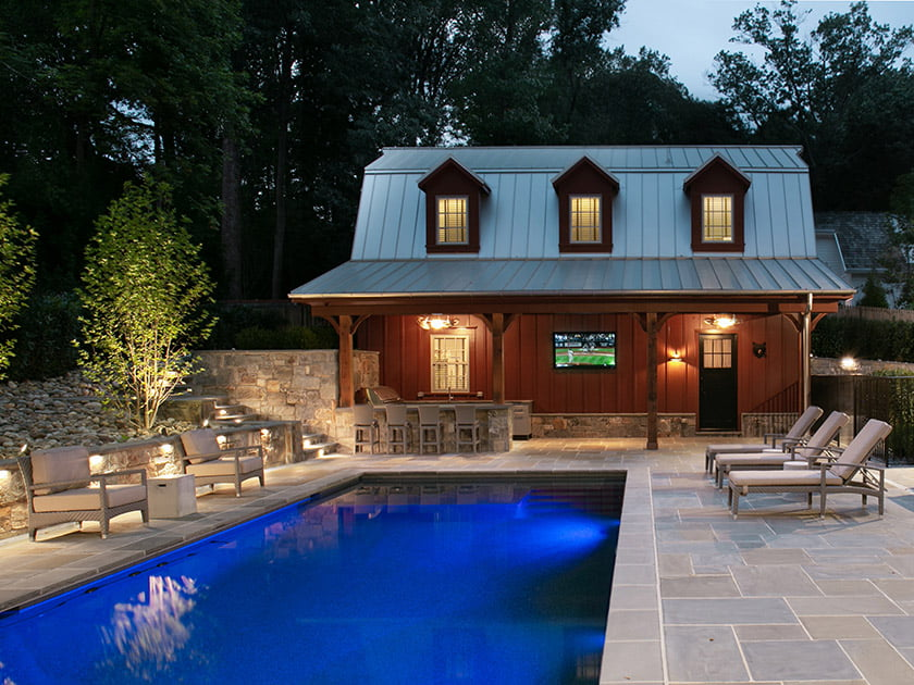 A backyard patio boasts the latest in outdoor technology