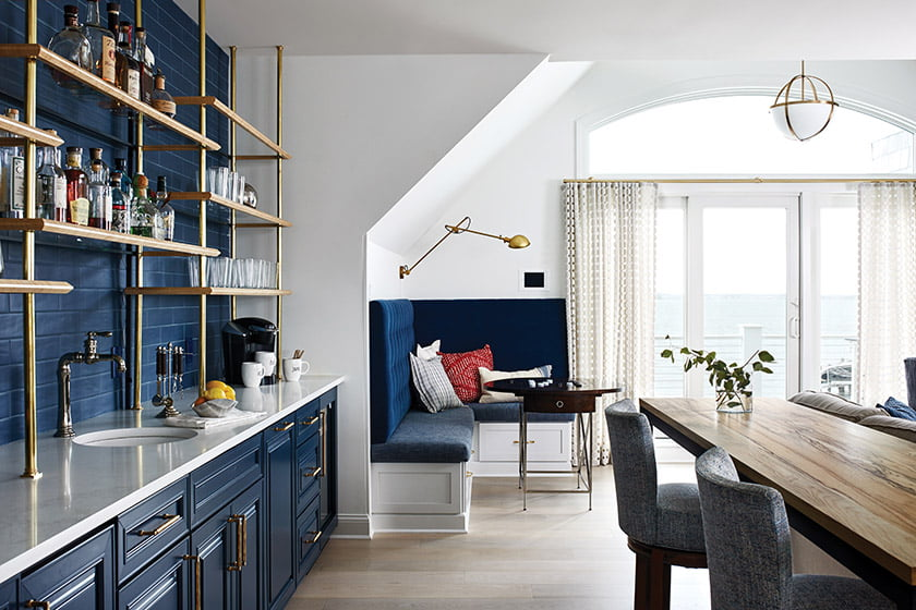 A clean-lined, second-level family room boasts