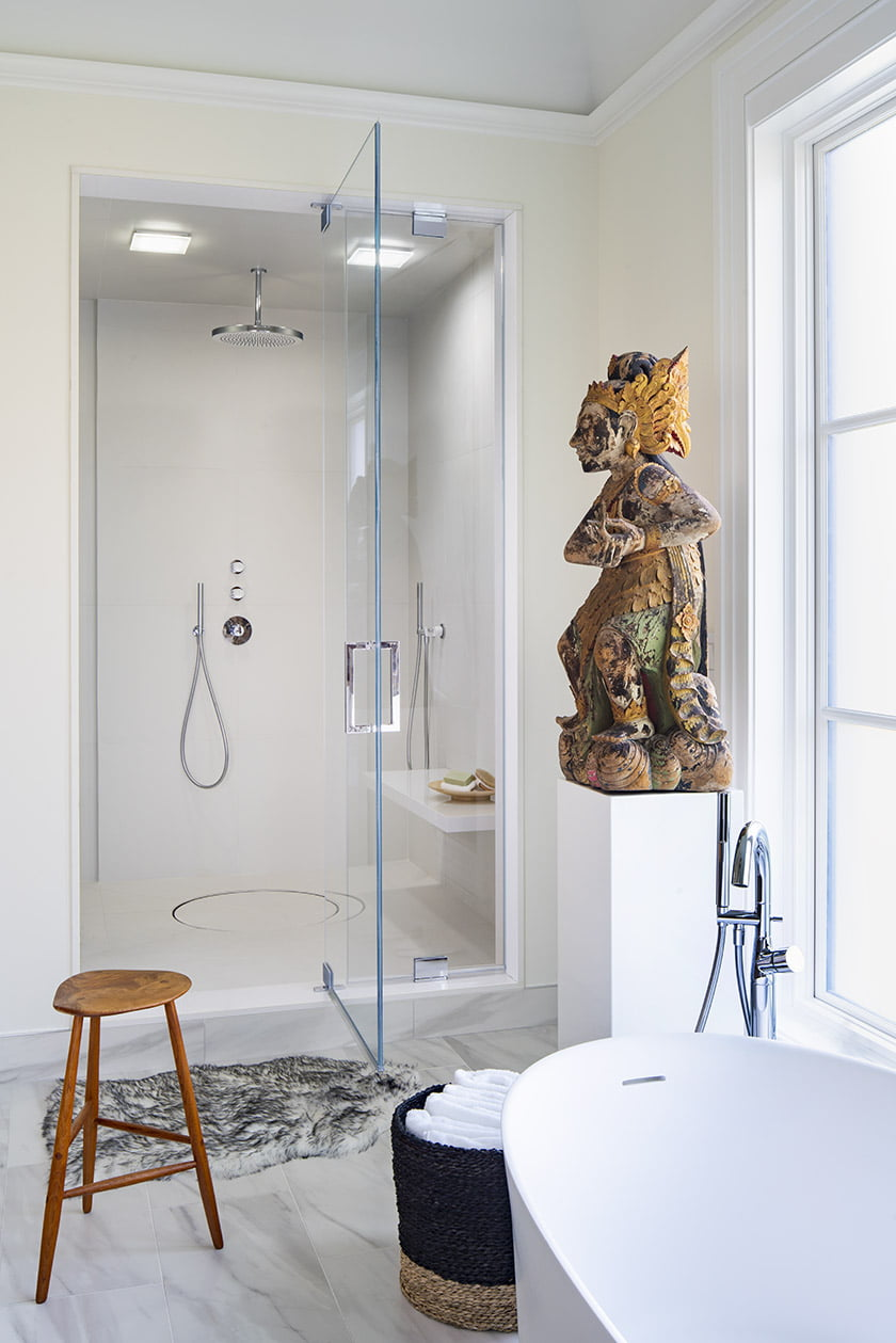 A soothing home spa elevates everyday rituals with a shower that puts steam quality