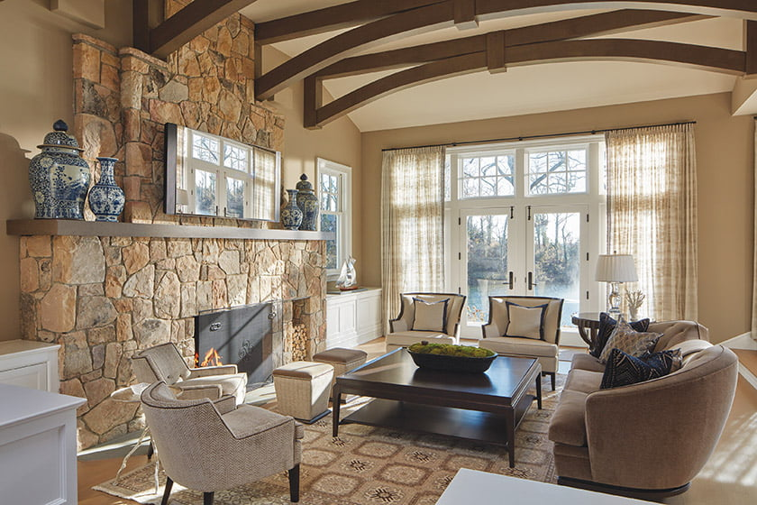 Sunroom with neutral shade and durable furniture and fabrics