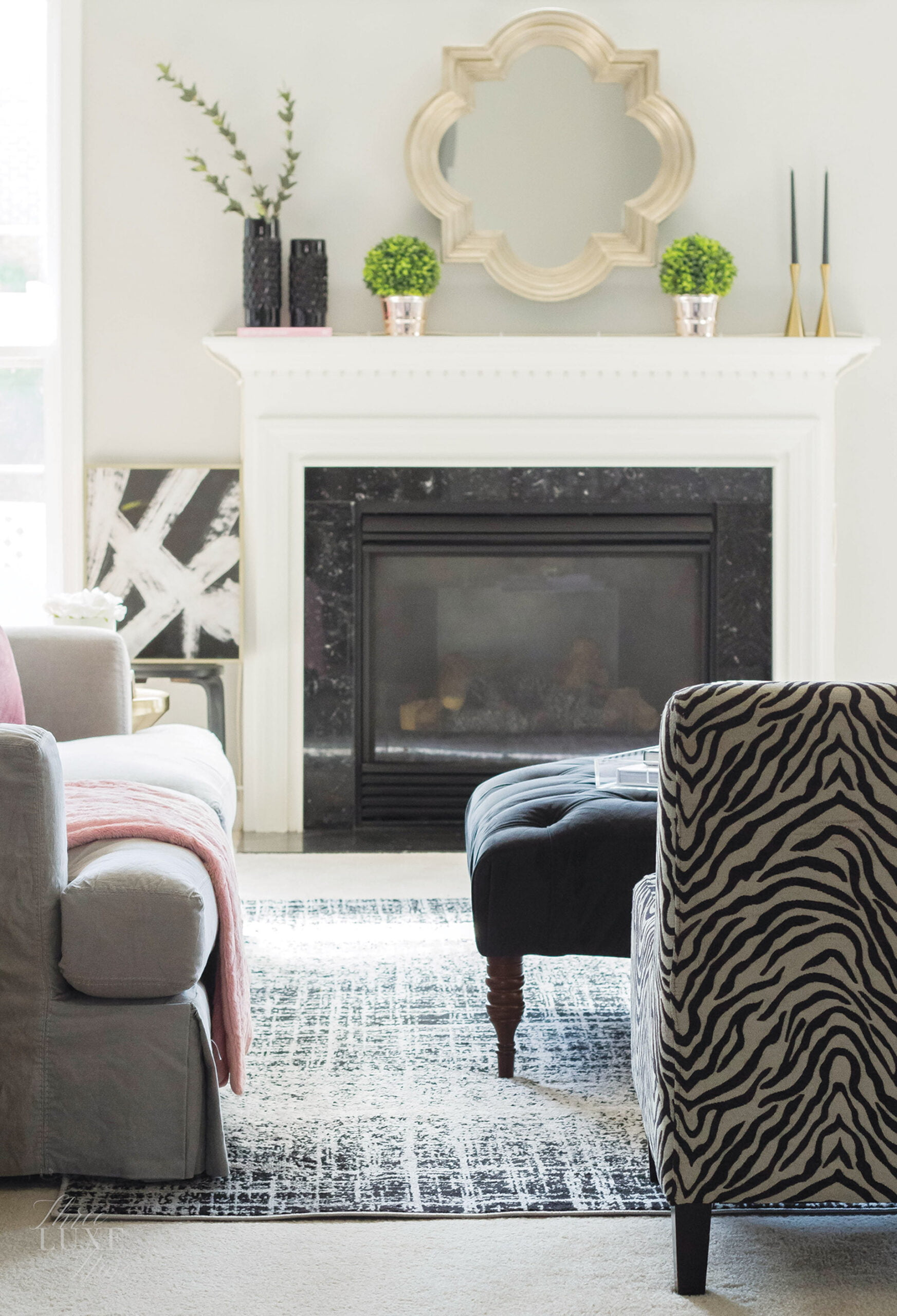 Arhaus sofa and Safavieh rug in living room