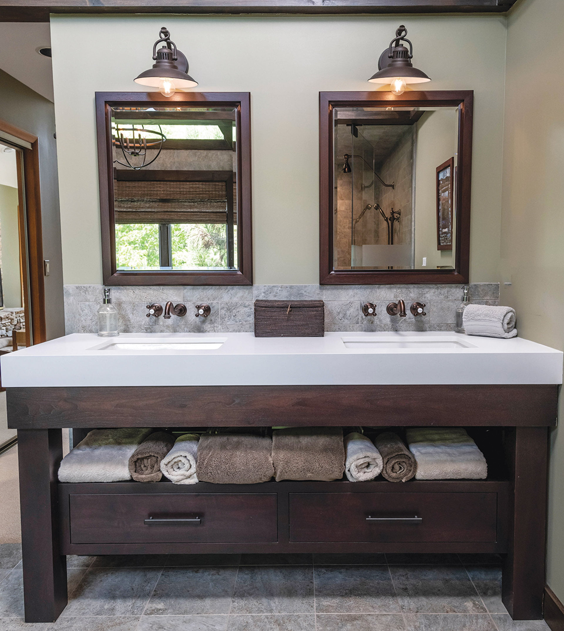 Vanity topped with thick quartz counter