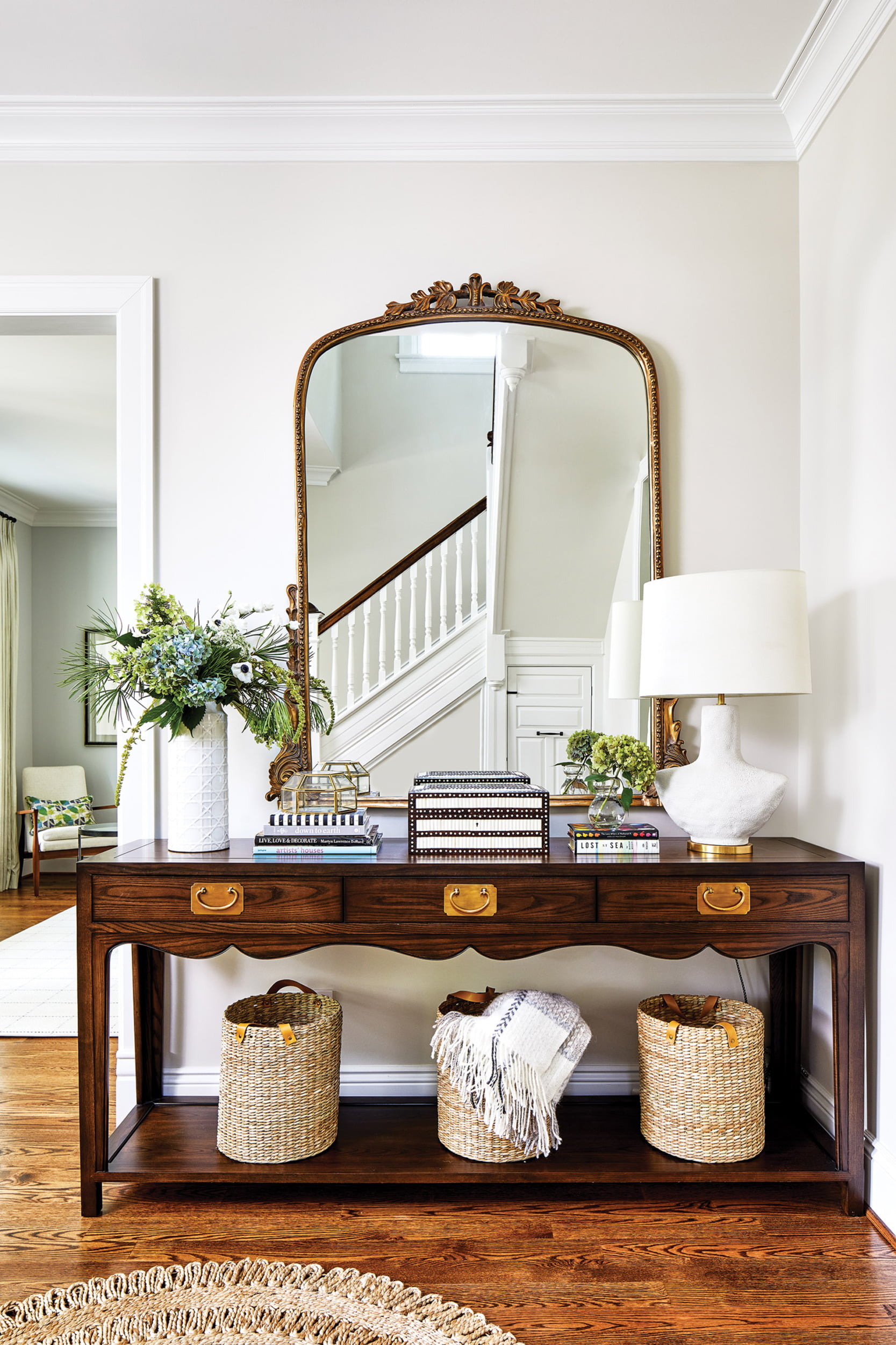 Hickory Chair console in foyer.