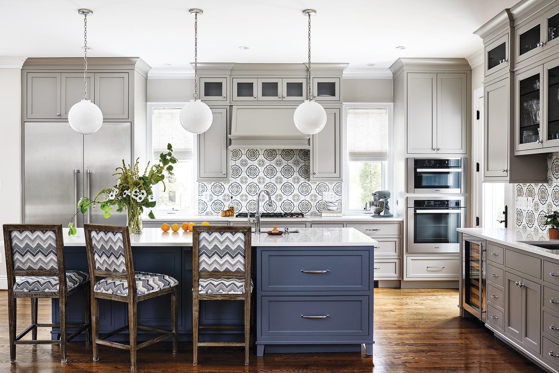Kitchen, Walker Zanger backsplash tile, blue and gray cabinetry
