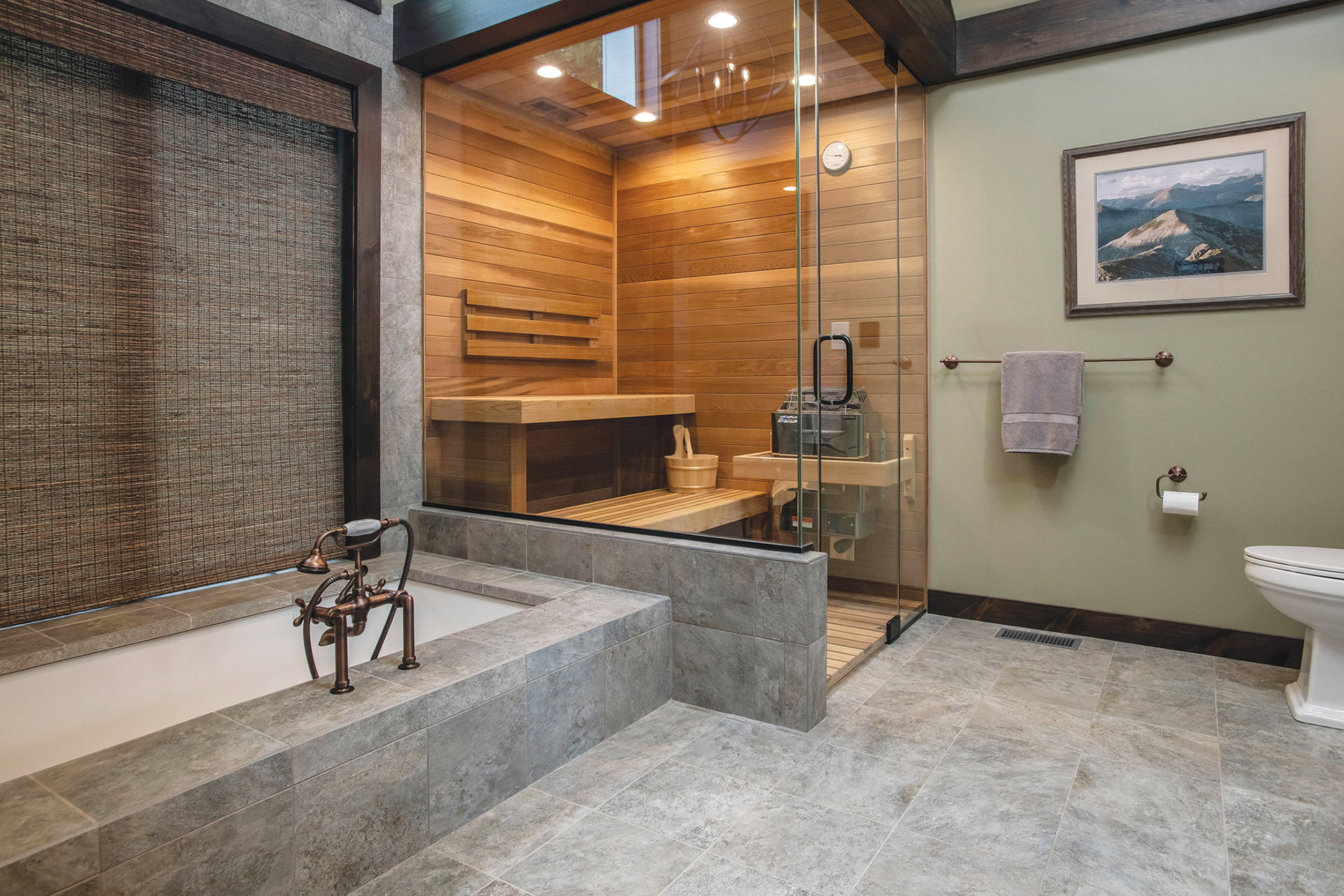 Cedar-clad sauna in bathroom