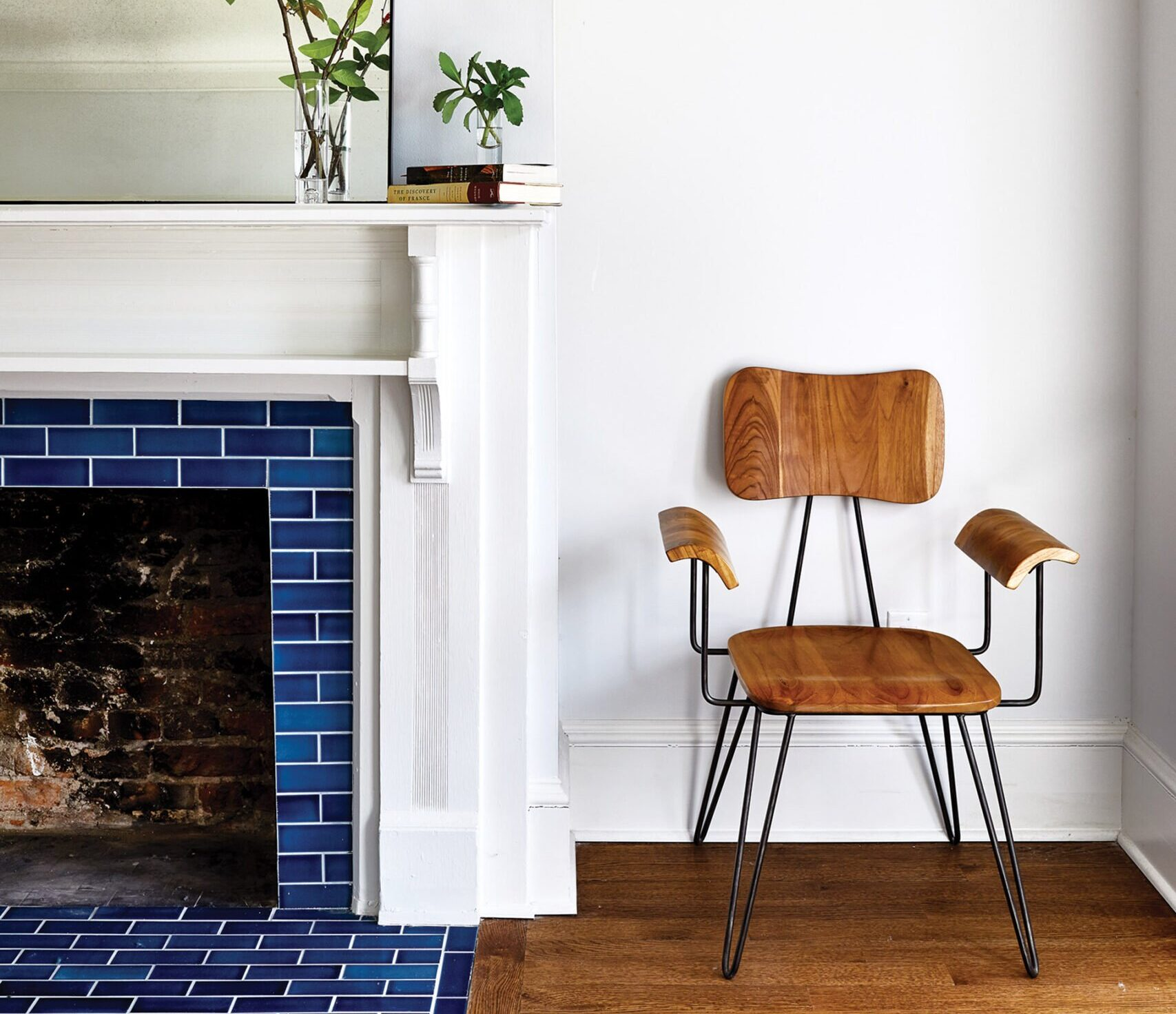 Tile fireplace surround adds a dash of color.